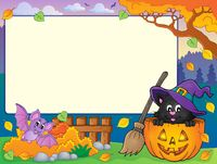 Autumn frame with Halloween cat theme 1 - picture illustration.