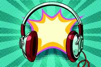 headphones comic bubble audio