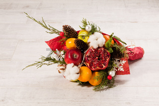 Close up view of winter edible bouquet.