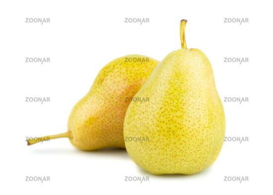 Two ripe yellow pears
