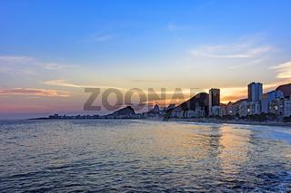 Leme and Copacabana beach at sunset in Rio de Janeiro