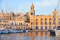 The yachts moored in the harbor in front of Malta Maritime Museum. Malta.