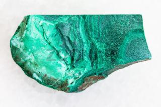 raw green malachite stone on white marble