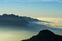 Autumn mist hovering over the Rhone river and the Lake Geneva, Vaud, Switzerland