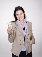 businesswoman with champagne