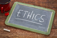ethics word on blackboard
