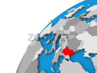 Bulgaria on globe in red