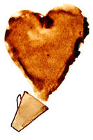 Heart of spilt coffee