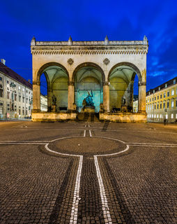 Odeonplatz and Feldherrnhalle in the Evening, Munich, Bavaria, Germany