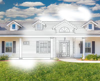 House Blueprint Drawing Gradating Into Completed Photograph.
