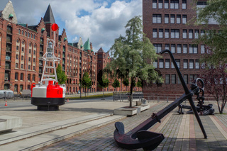 HAMBURG, GERMANY - JULY 18.2016: Famous Speicherstadt warehouse district with anchor and buoy