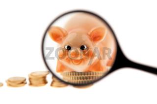 Münzstapel von Euromünzen mit Sparschwein und Lupe