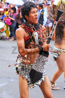 Local man dancing during Festival of the Virgin de la Candelaria in Lima, Peru