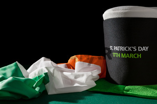 St Patrick day with hat and irish flag