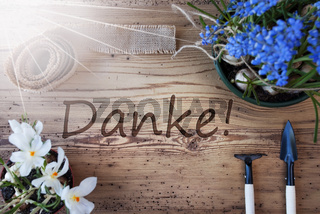 Sunny Spring Flowers, Danke Means Thank You