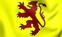 3D Flag of the Welsh Kingdom of Powys and the House of Mathrafal. Close Up.