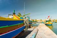 Traditional painted fisherman boat in Marsaxlokk village,Malta