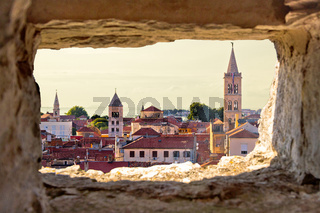 Zadar aerial view through stone window