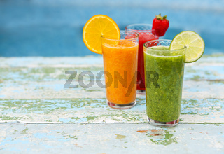 Assortment of fruit and vegetables smoothies Health or detox diet food concept.