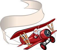 Cartoon retro Christmas airplane with banner