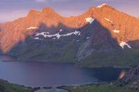 Evening mood, Forsfjorden, Moskenesoeya, Lofoten, Norway