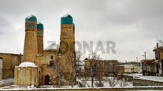 Winter look to Chor-Minor mosque, Bukhara