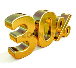3d Gold 30 Percent Discount Sign