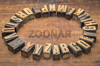 alphabet circle in vintage letterpress wood type