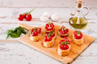 Italian bruschetta with tomato, basil and garlic