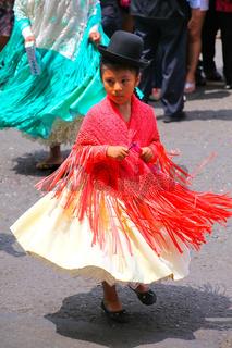 Local girl performing during Festival of the Virgin de la Candelaria in Lima, Peru.
