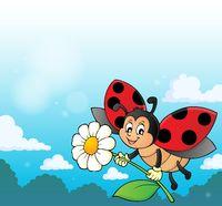 Ladybug holding flower theme image 3
