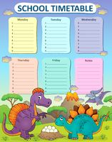 Weekly school timetable thematics 2 - picture illustration.