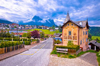 Idyllic Alpine town of Kastelruth architecture and mountains view