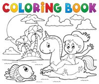 Coloring book girl floating on unicorn 2