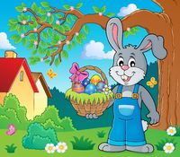 Bunny holding Easter basket theme 2