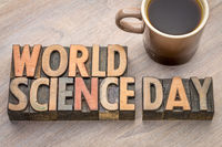 World Science Day - word abstract in wood type