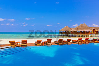 Pool and cafe on Maldives beach
