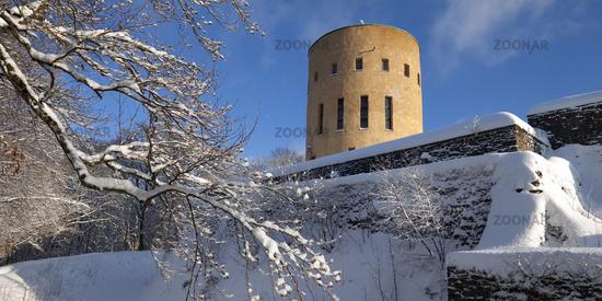 castle Ginsburg in winter, Hilchenbach, Siegerland, North Rhine-Westphalia, Germany, Europe