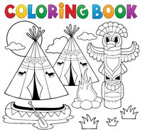 Coloring book Native American campsite
