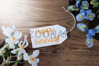Sunny Flowers, Label, Text Happy Birthday
