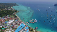 Aerial drone photo of Tonsai pier and iconic tropical beach and resorts of Phi Phi island