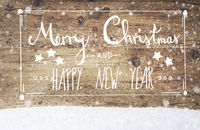 Calligraphy Merry Christmas And Happy New Year, Wooden Background, Snowflakes