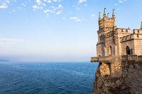 Swallow Nest Castle in Crimea in autumn evening