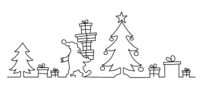Santa Claus brings many presents - continuous line drawing