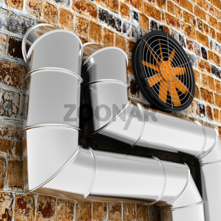 Metal pipes and ventilator on the brick wall