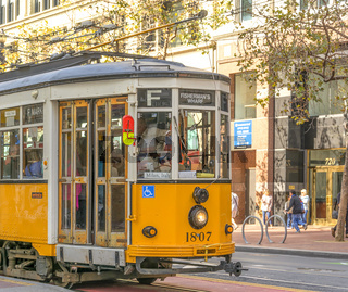 Italian Tram moving in San Francisco