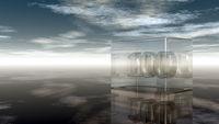 die zahl einhundert in glaswürfel unter wolkenhimmel - 3d illustration