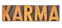 karma word in vintage wood type