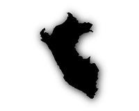 Karte von Peru mit Schatten - Map of Peru with shadow