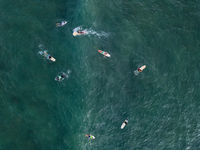 Aerial photo of surfers on boards